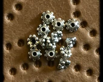 Antique Silver Bead Caps 6mm -12 pieces -B38
