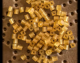 Glass Matte Finish Seed Beads 4x4mm Square - Amber Frost - 80+ Beads - C18