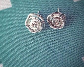 Sweet Silver Rose Post Earrings