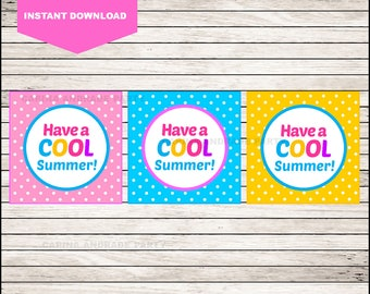 50% OFF Printable End of School Cards , Have a Cool Summer  Funny Gift Tags , Printable Summer Gift Tag cards instant download
