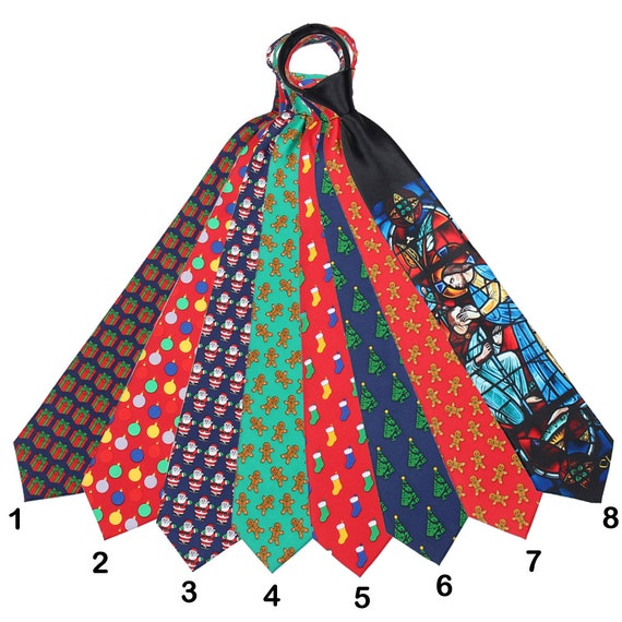 Assorted selection of Men's Holiday Chrismas Zipper Ties Black Blue Green Red