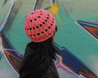 Crochet, cap, knitted, hat, slouchy, beanie, boho chic style, winter fashion, women accessories, woman gifts, girls pink clothes, wool, warm