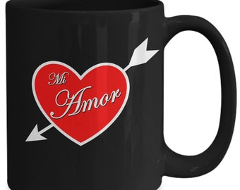 Mi Amor Valentine Heart Black Mug 15oz -  Great Gift for Valentines Day or Anniversary and more
