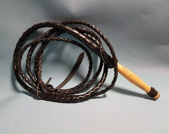 Vintage Bull Whip with Wood Handle, 12 Feet Long