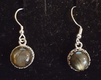 Sterling silver and 10mm labradorite earrings