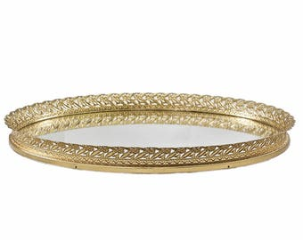 Vintage Brass Mirrored Vanity Tray-Oval Mirror Tray-Jewelry Tray-Dresser Tray-Perfume Tray-Bar Tray-Brass Decor-MidCentury-Hollywood Regency