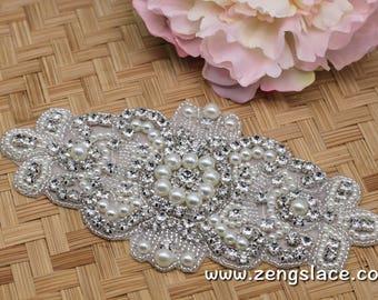 Rhinestone Sash/Wedding Sash/Bridal Sash/Wedding Dress Belt/Wedding Belt/Rhinestone Belt/Crystal Sash/Rhinestone Applique/Bridal Belt, RA-04