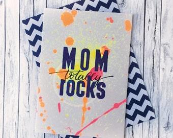 MOM totally rocks colorful letterpress Handlettering greeting card & envelope