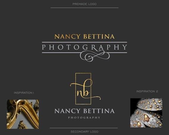 Unique photography logo,  Watermark, Signature Logo, Initials, Gold Foil, Elegant Logo, Monogram, Blog Logo, Mini Branding kit, Interiors
