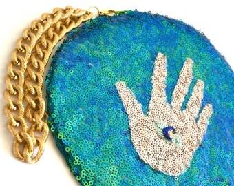 Iridescent Green Sequin Evil Eye Deterrer Unique Art Custom Made Circle Handbag for Makeup, Trinquets, etc.