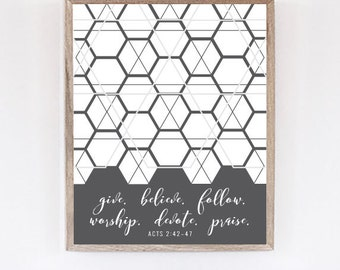 Acts 2 Instant Download // Gray Hexagon Honeycomb Digital Download Wall Art // Printable PDF // Print at Home