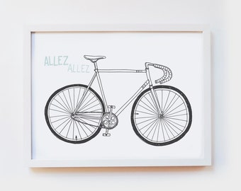 Giclee Art Print - vintage bicycle illustration, allez allez, road bike, koersfiets - illustrated wall art, poster, decor - size A4 or A3