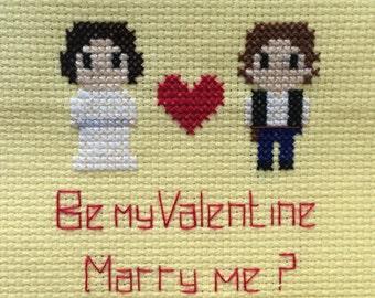Star Wars Themed Valentines/Wedding Proposal Cross Stitch Piece (unframed)