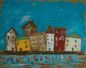 Сityscape,old town,urban art,conceptual painting,naive painting,original oil painting,expressionism,interior painting,oil on canvas
