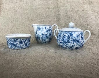 Vintage Blue and White German Cream and Sugar 3 piece Set
