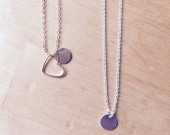 Valentines Day Valentine Heart Necklace initial letter everyday chain every day chain Gold Silver disc personalizable customizable