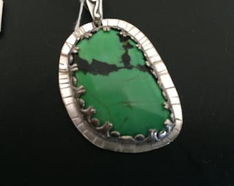 Hand Crafted Sterling and Green Turquoise Pendant