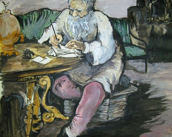 Leo Tolstoy at Work.Russian Original Painting.Acrylic on paper.Fine Art. Best Price.Collectible Painting.SALE!Free Shipping!