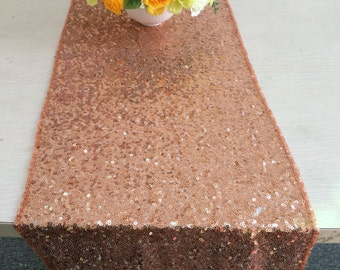 """12"""" x 108"""" Glitter Rose Gold Table Runner/Sequin Table Runner/Wedding Table Runner/Rose Gold Wedding Bridal Party Decoration/Ship From USA"""