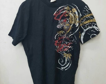 Rare T-shirt Style Embroidery Japanese Dragon T-shirt