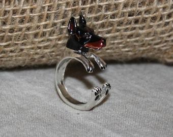 Ring ring-sculptured silver 925dog silver doberman-dog-jewel-dog lover-ring-gift-dog lover-custom-