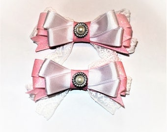 Pink Lace Hair Bows