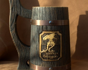 The Green Dragon beer stein Personalized wooden Mug 0.7 l (23oz)  natural wood, handmade, wedding gift, beer tankard, stein, Wooden tankard