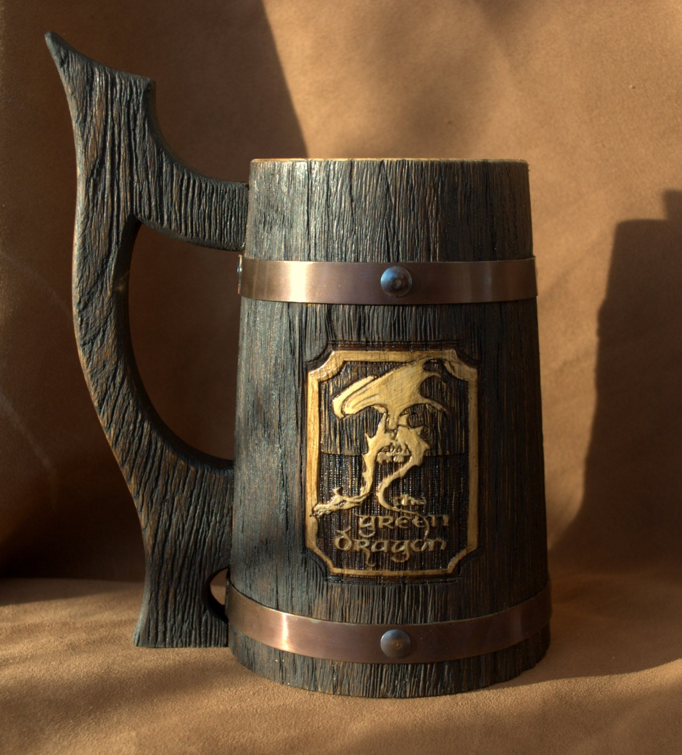 The Green Dragon Beer Stein Personalized Wooden Mug 0 7 L