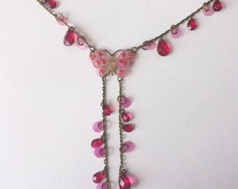 Vintage 90's Pink Butterfly Sequins Faceted Beads Statement Necklace