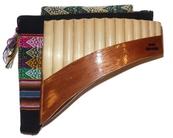 Beginners 13 Pipes Curved Peruvian Pan Flute Antara - Case Included - Shipping from USA