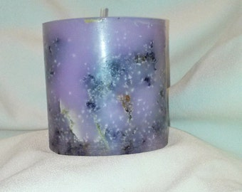 Embedded Pillar Candle, Lilac and Lilac Scented