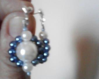 Blue and white beaded earrings