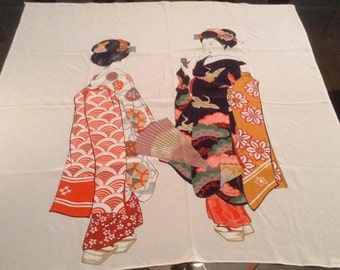 silk scarf with geisha large vintage 1950's