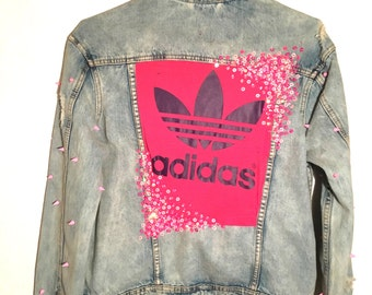 Adidas pink sequins jeansjacke
