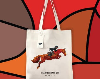 Red Jumping Horse Tote Bag Made to Order