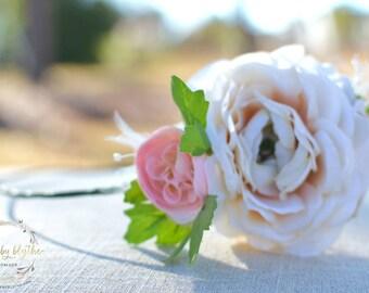 "The ""Abigail"" floral halo crown // pink and cream wedding, country wedding, summer wedding headband, bridesmaid headband"