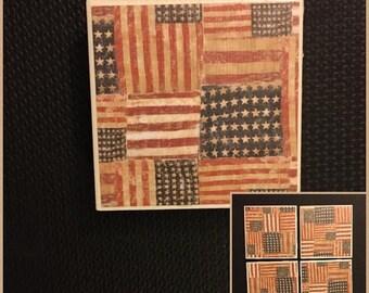 4 piece American flag coaster set
