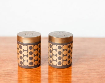 Hornsea salt and pepper shakers geometric pattern - brown and gold - Lancaster vitramic vintage
