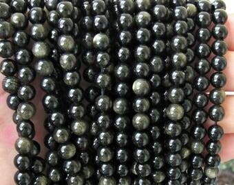 Golden Obsidian 6mm, AA quality, full strand, Sheen obsidian, obsidian 6mm, gold obsidian beads, black obsidian, 6mm sheen obsdian, black