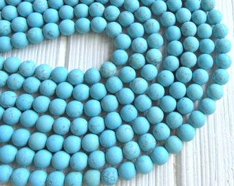 Matte Turquoise Magnesite, 8mm beads, full strand, frosted turquoise beads, magnesite beads, blue magnesite, blue beads, 8mm blue beads