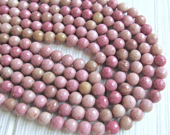 Faceted Rhodonite beads, 6mm rhodonite, pink rhodonite beads, full strand, pink gemstone beads, beads for malas, necklace beads, mala beads