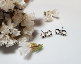 Infinity Earrings, Sterling Silver Studs, Silver Infinity, Eternity, Figure 8, Endless Loop, Infinity Studs.