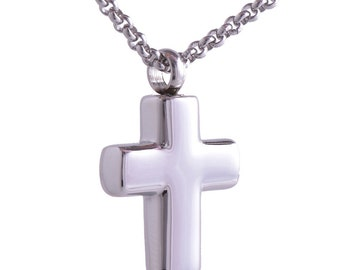 Silver Cross Cremation Pendant on Chain