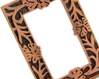 1 Etched 54 mm Floral Antique Copper Frame Pendant, Open Frame Flowers Vines Pendant, Large Rectangle Metal Frame Pendant, Bead Destash