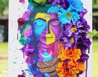 Shiva Mixed Media Painting