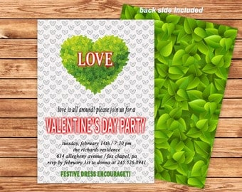 Personalized Valentine's Day Party Invitation, Valentines Invites, Valentines Party Invitation, love card, Valentine card, Heart design