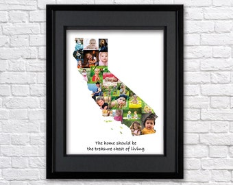Digital File-California state photo collage, Any state photo collage, Custom photo collage, United states picture collage, California map