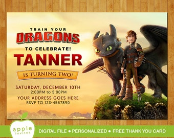 How to train your dragon Invitation, How to train your dragon Birthday, How to train your dragon Party, FREE Thank you Card!