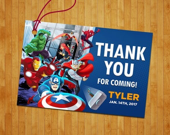 Avengers thank you tag, Avengers gift tag, Avengers thank you favor tag