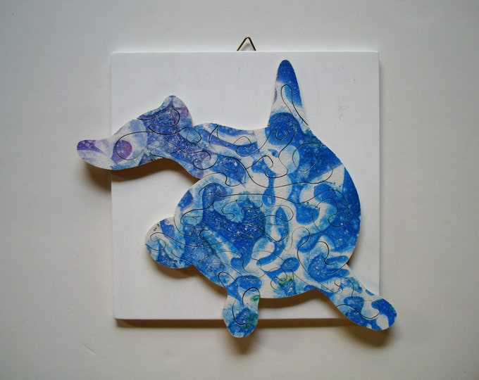 Dolphin puzzle; abstract blue, wooden hand-cut, brain train, Puzzle-Art & Play, by Samo Svete